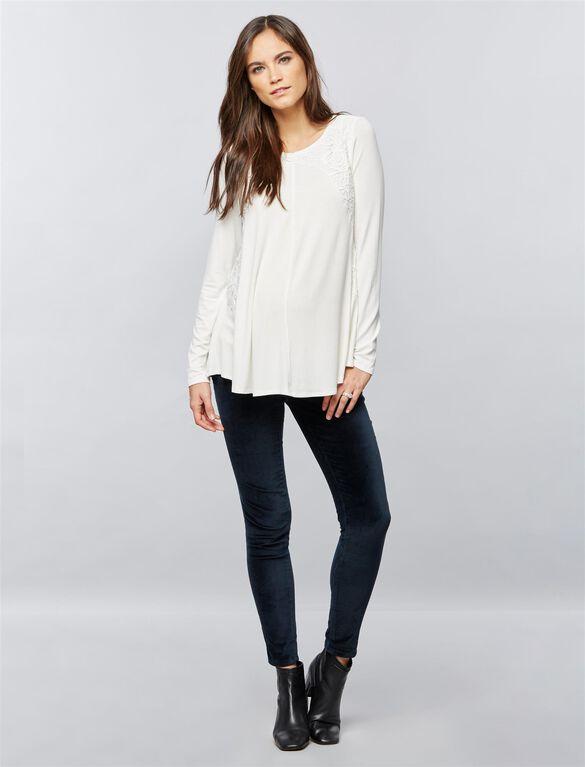 Crochet Detail Maternity T Shirt, White