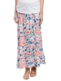 Smock Waist Under Belly Maternity Maxi Skirt, Floral Print