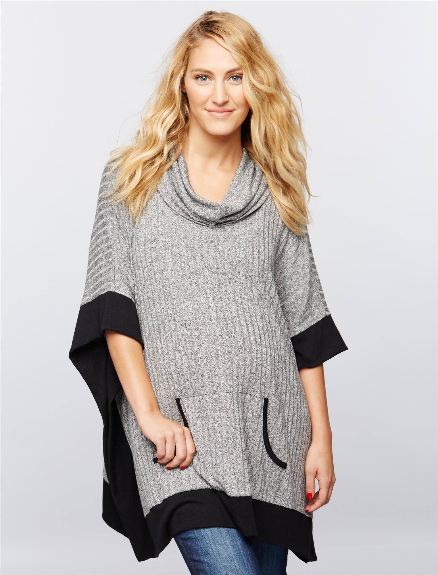 Ribbed Cowl Maternity Poncho
