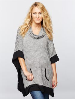 Ribbed Cowl Maternity Poncho, Grey W/ Black Trim