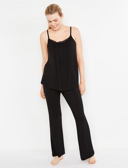 Bow Detail Maternity Sleep Pants- Solids, Black
