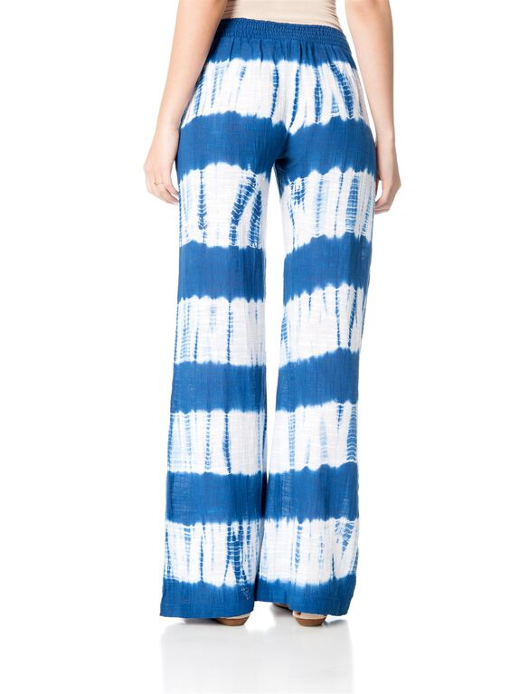 Pull On Style Cotton Woven Wide Leg Maternity Pants, Blue/White