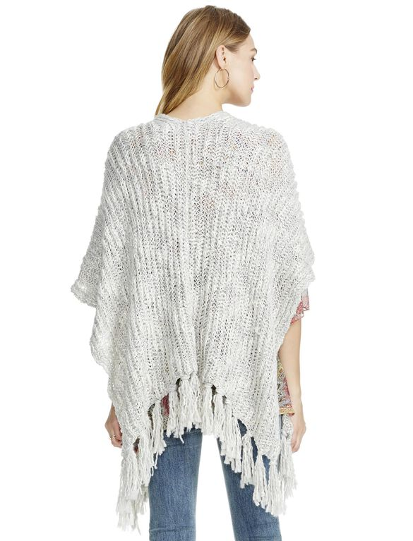 Jessica Simpson Cable Knit Open Fringe Maternity Poncho, Gray