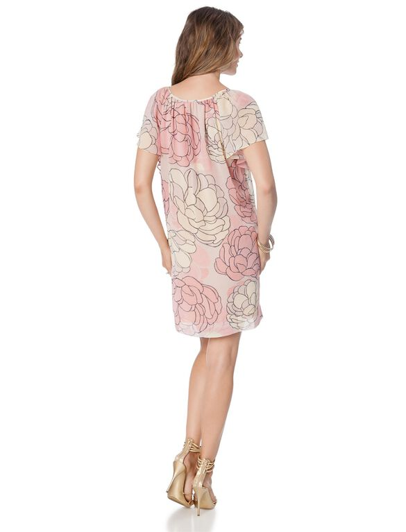BCBGMAZAZRIA Floral Print Maternity Dress, Peach/Blush