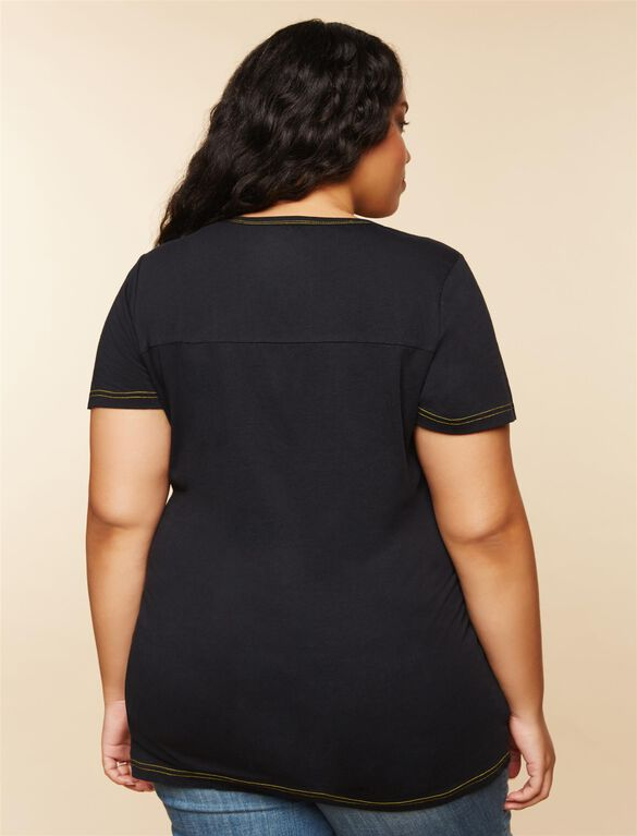 Plus Size Ruched Maternity T Shirt, Black Steelers