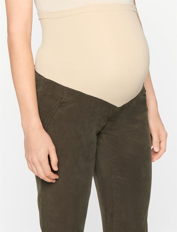 Secret Fit Belly Cotton Woven Slim Leg Maternity Crop Pants, Dark Moss