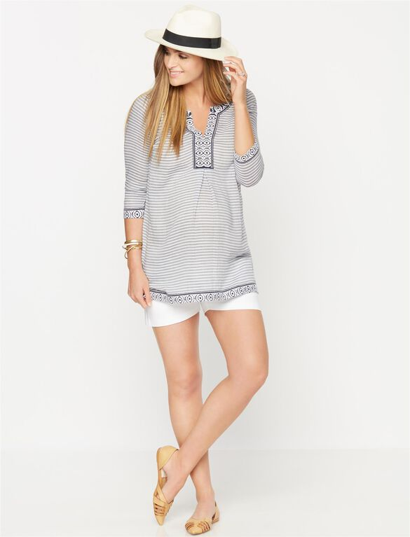 Embroidery Maternity Tunic, Blue/White Stripe