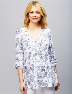 Pleated Maternity Blouse, Navy Floral