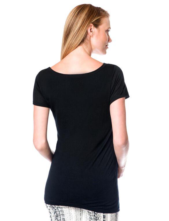Keyhole Detail Maternity T Shirt, Black