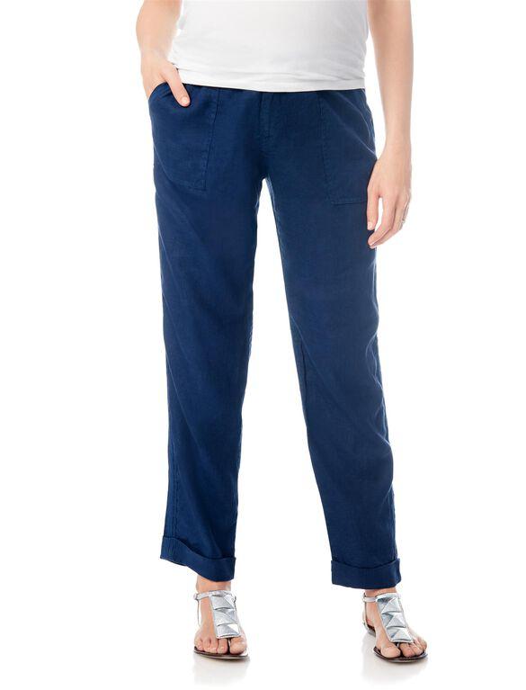 Pull On Style Linen Straight Leg Maternity Pants, Navy