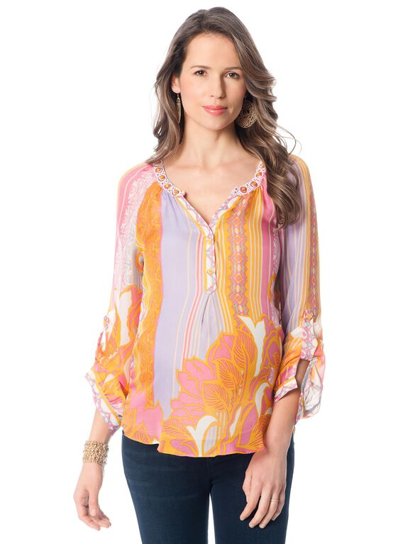 Button Front Maternity Blouse, Pink Print