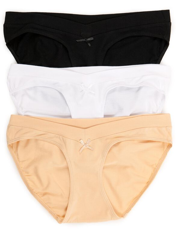 Maternity Hipster Panties (3 Pack)- Neutrals, Blk/Wht/Nude 3-pack