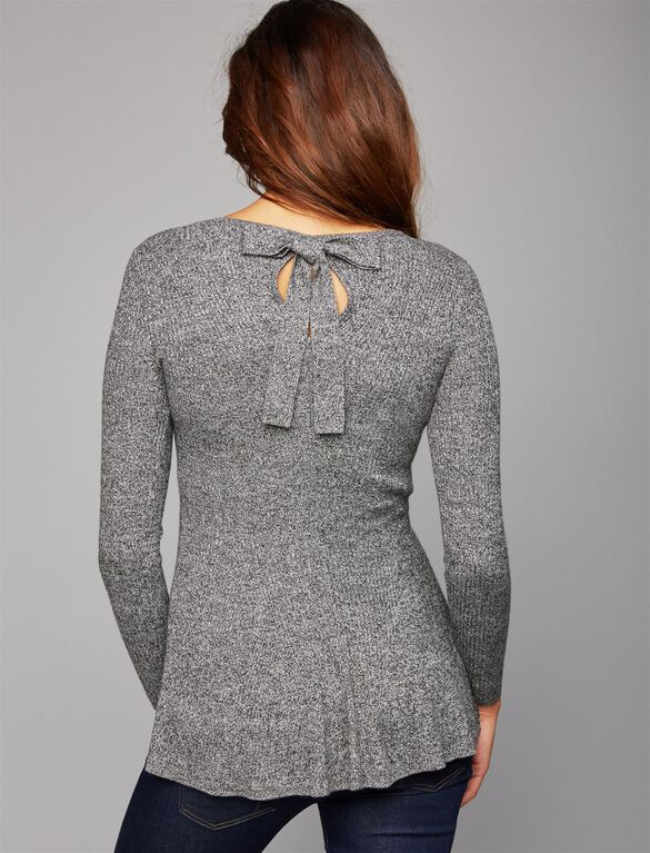 Bow Detail Maternity Sweater, Heather Grey