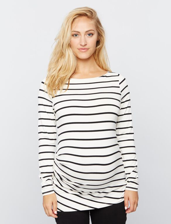 Pleated Maternity Top- Stripe, Black/White Stripe