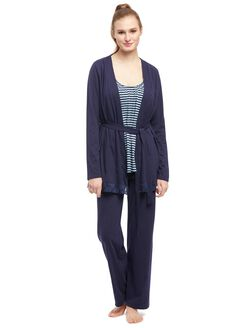 Bump In The Night Lace Trim Nursing 3 Piece Pajama Set, Navy