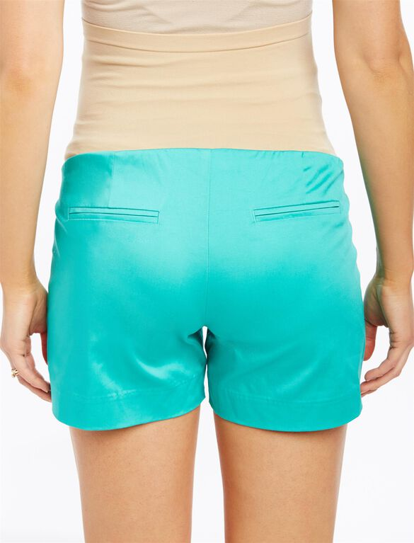 Secret Fit Belly Sateen Maternity Shorts, Atlantis Green