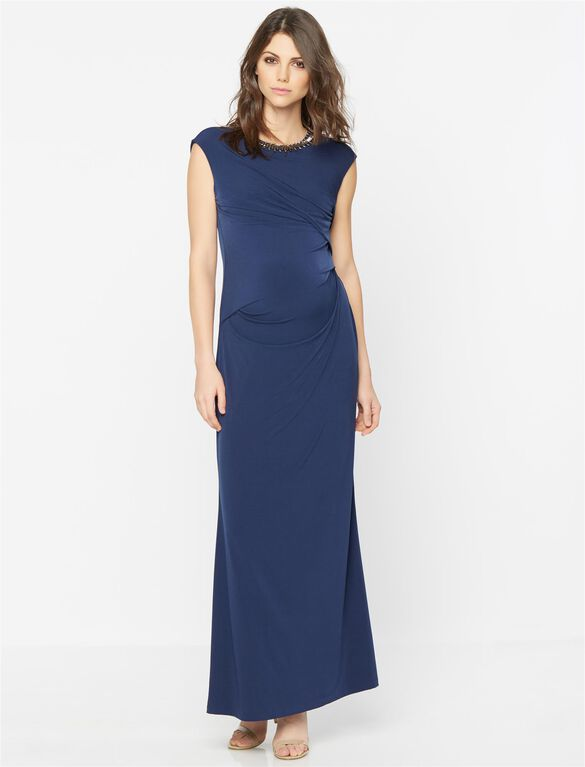 Embellished Maternity Maxi Dress, Navy