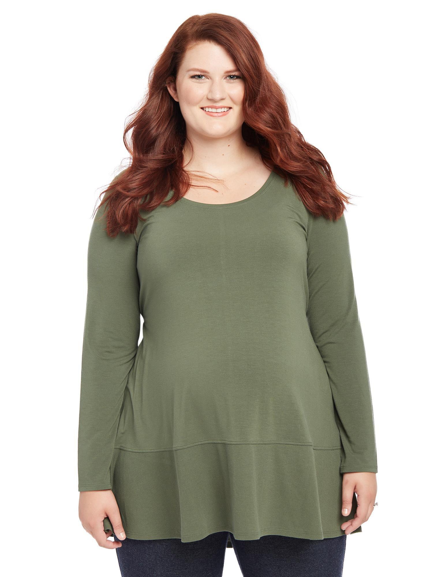 Plus Size Rib Knit Maternity T Shirt