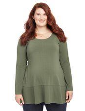 Plus Size Rib Knit Maternity T Shirt, Deep Teal