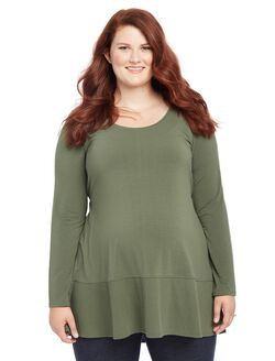 Plus Size Rib Knit Maternity T Shirt, Deep Teal