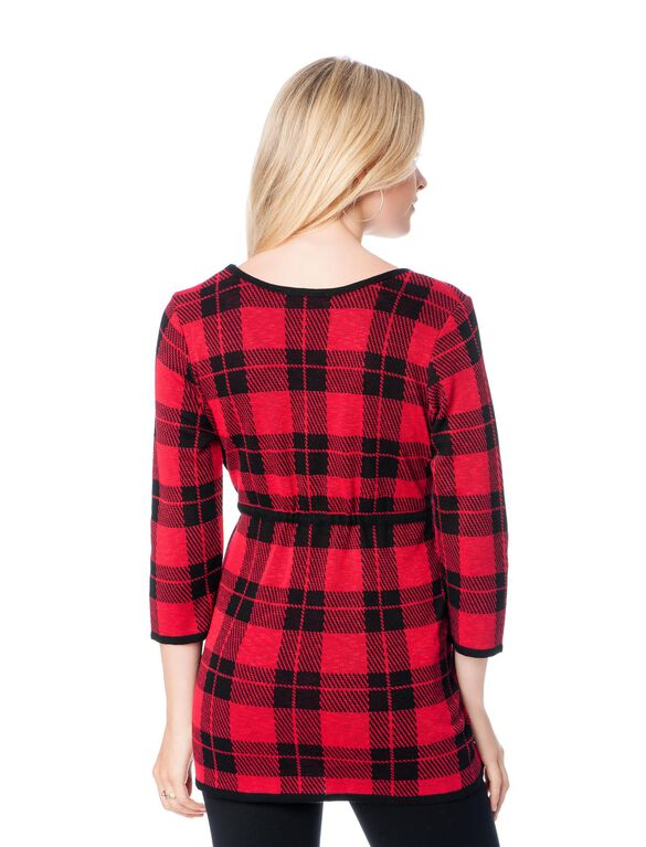 Plaid Babydoll Tunic Maternity Sweater, Red/Nvy