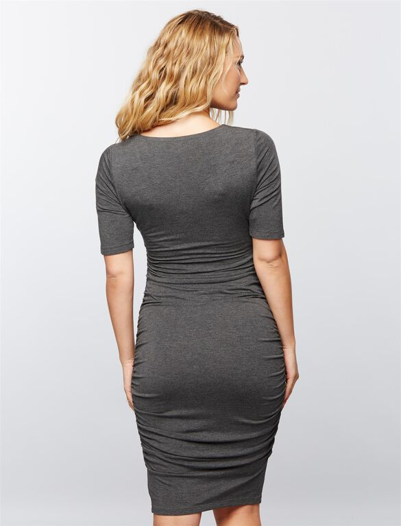 Ruched Maternity Dress- Charcoal, Charcoal