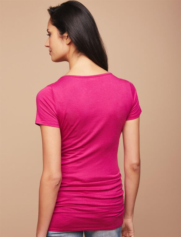 Side Ruched Maternity Tee, Festival Fuchsia