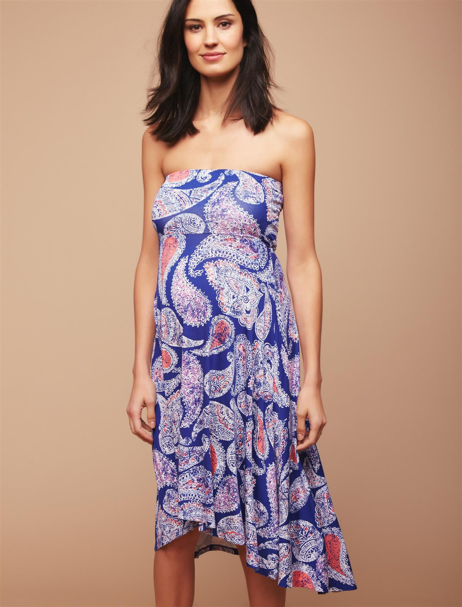 Strapless High-low Hem Maternity Dress- Paisley