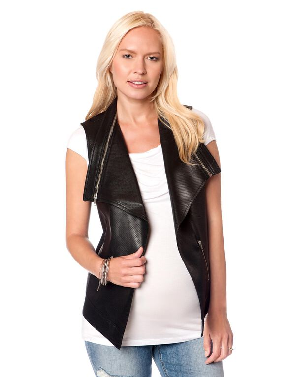 Zipper Detail Faux Leather Maternity Vest, Black