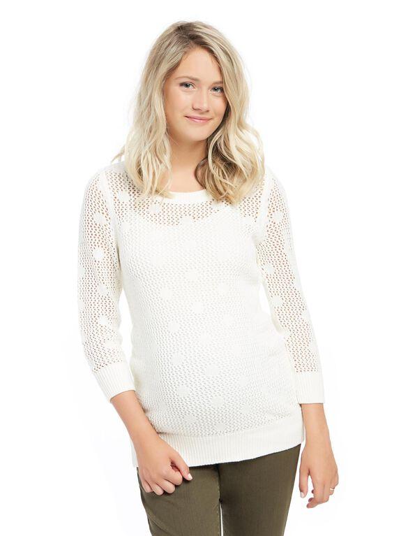 Pointelle Dot Maternity Sweater, Egret