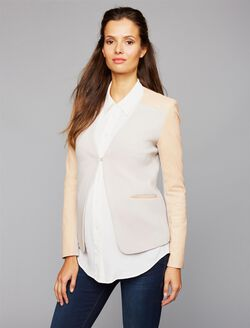 1 Button Closure Leather Maternity Blazer, Chalk Grey/Nude Pink