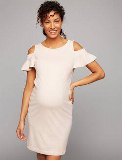 Pietro Brunelli Ruffled Cold Shoulder Maternity Dress, Pink
