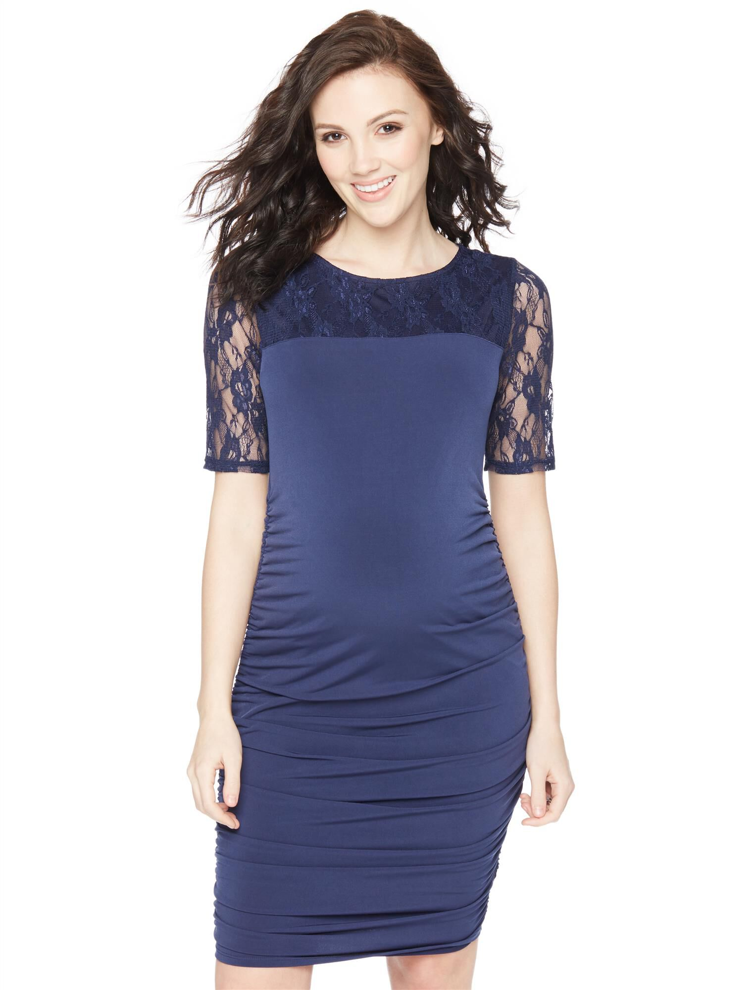 Vintage Style Maternity Clothes Lace Elbow Sleeve Maternity Dress $29.99 AT vintagedancer.com