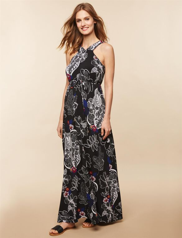 Maternity Dress, Black Floral