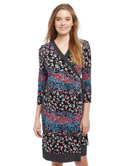 Mixed Print Maternity Wrap Dress, Mixed Print