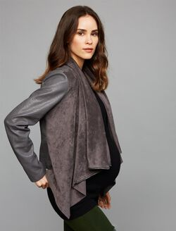 Blank Nyc Drape Front Maternity Jacket, Dark Grey