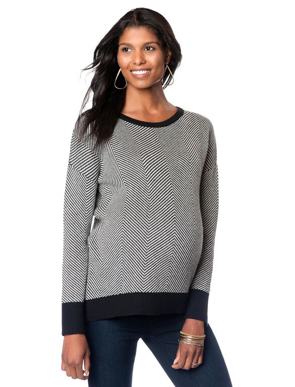 High-low Hem Maternity Sweater, Black/White Chevron