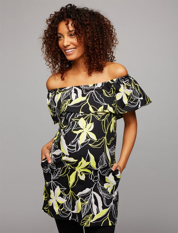 Splendid Off The Shoulder Maternity Tunic, Tropical Floral Print