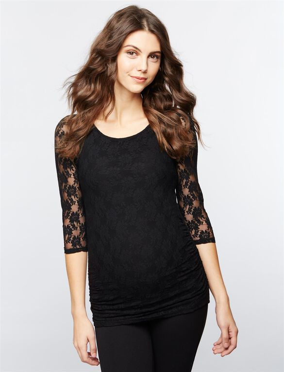 Isabella Oliver Hudson Lace Maternity Top, Caviar Black