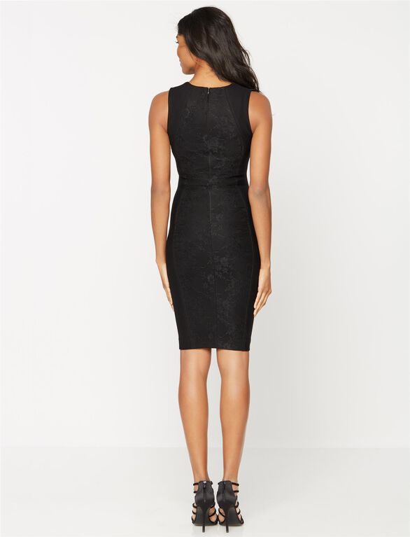 Sen Embroidered Maternity Sheath Dress, Black