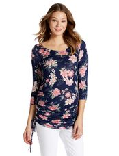 Jessica Simpson Side Tie Maternity Shirt- Floral, Floral