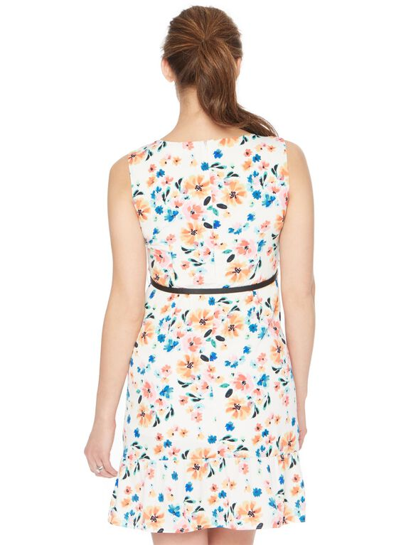Belted Ruffle Hem Maternity Dress, Multi Floral