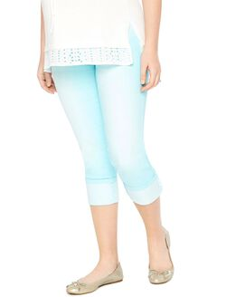 Secret Fit Belly Twill Skinny Leg Maternity Crop Pants, Crystal Waters Blue