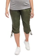 Plus Size Secret Fit Belly Poplin Maternity Crop Pants, Olive