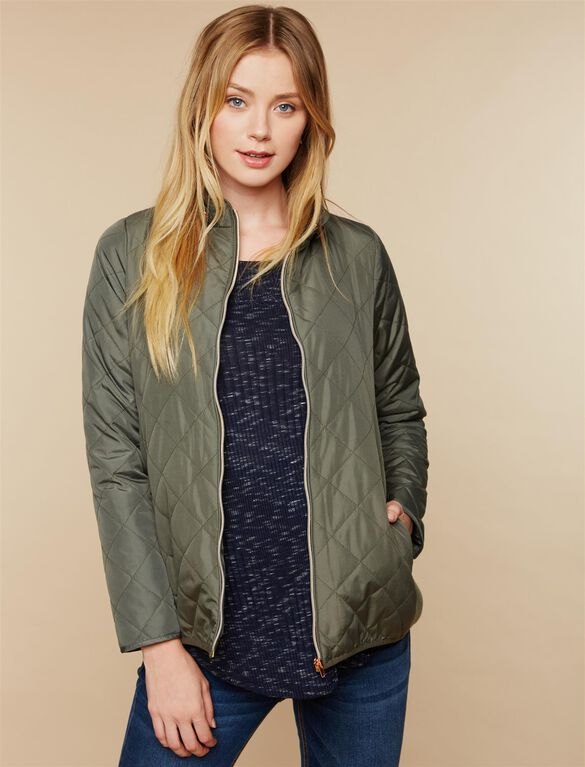 Quilted Puffer Maternity Coat, OLIVE