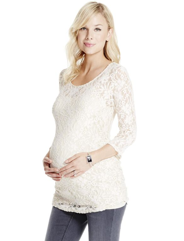Jessica Simpson Floral Patterned Lace Maternity Top, White Sand