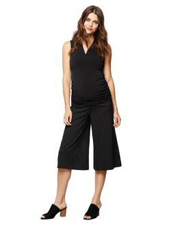 Under Belly Ponte Wide Leg Maternity Pants, Blk/Wht Pinstripe