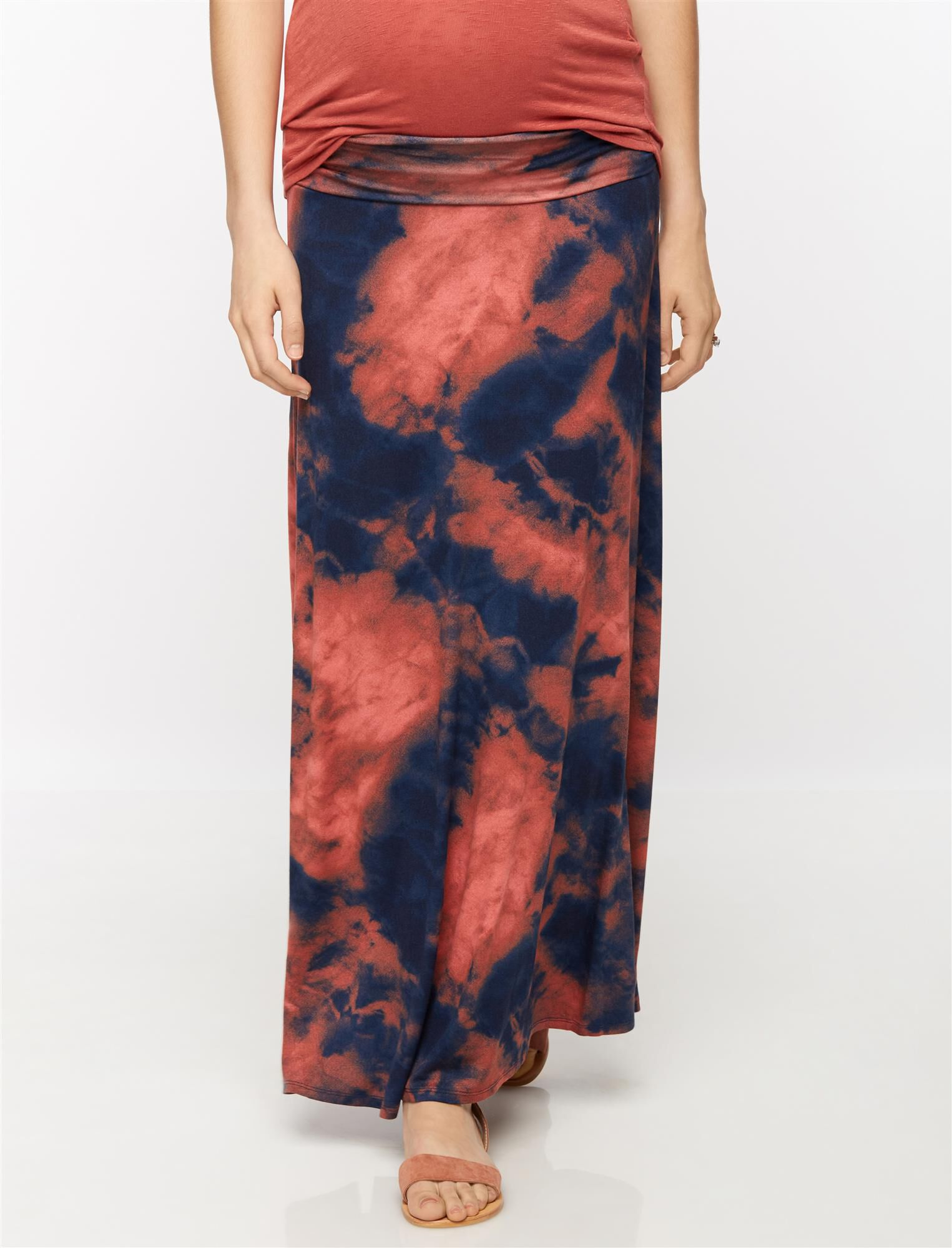 Self Belly Tie Dye Maxi Maternity Skirt