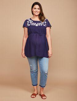 Jessica Simpson Plus Size Secret Fit Belly Skinny Leg Maternity Crop Pants, Medium Wash