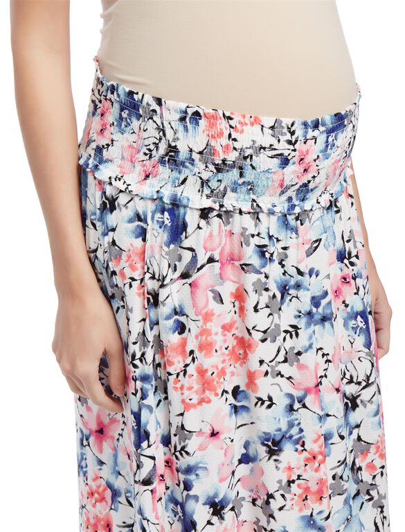 Under Belly Smock Waist  Maternity Maxi Skirt- Floral Print, Floral Print